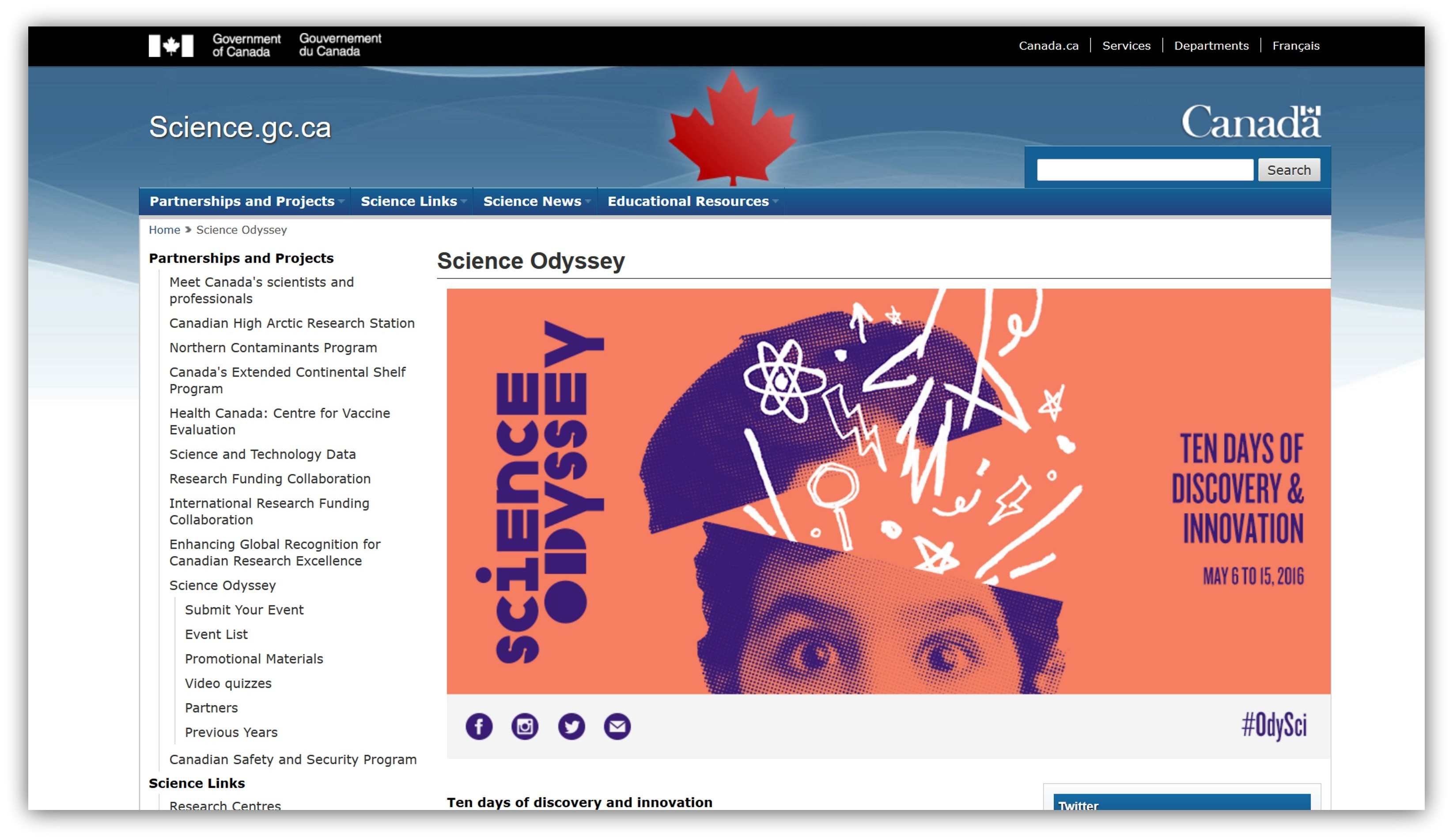 Image of a screenshot of the Government of Canada, Space Odyssey webpage